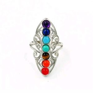 7 Chakra Stones Adjustable Ring Retro/Boho NWOT!